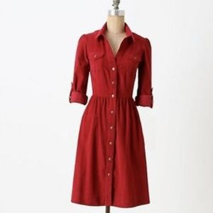 ANTHROPOLOGIE FEI Refined Cord Shirtdress Dress